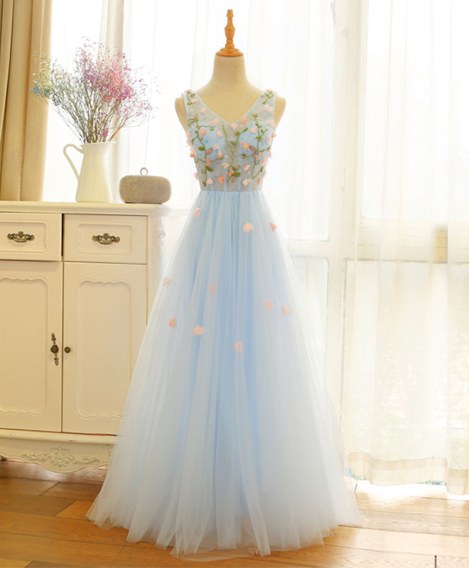Blue v neck lace applique long prom dress, tulle evening dress