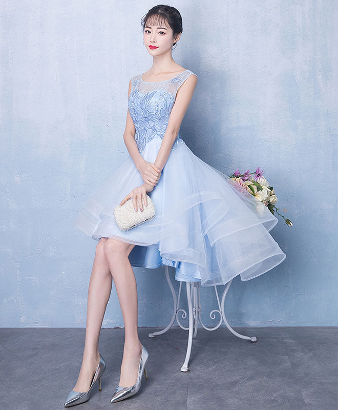 Blue round neck tulle short prom dress, blue evening dress