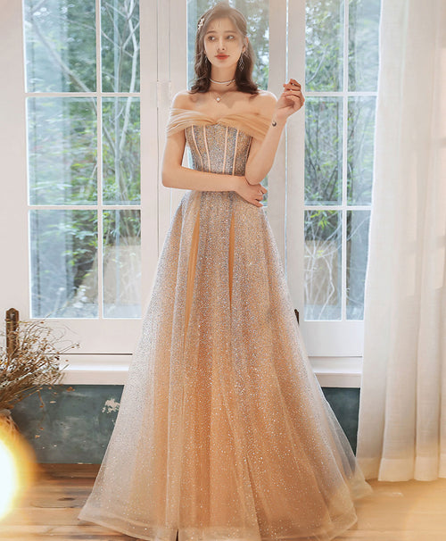Champagne tulle sequin long prom dress tulle formal dress