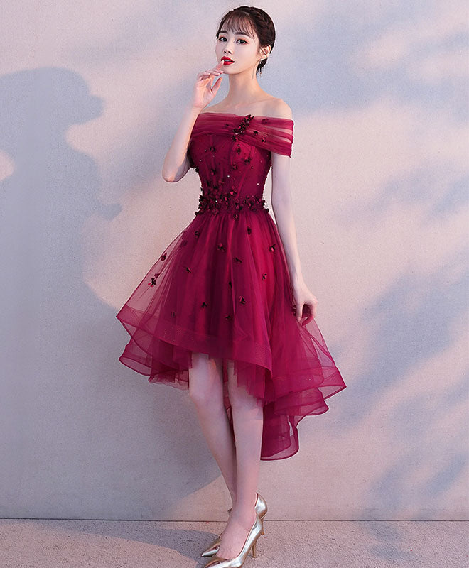 Burgundy tulle short prom dress, burgundy homecoming dress