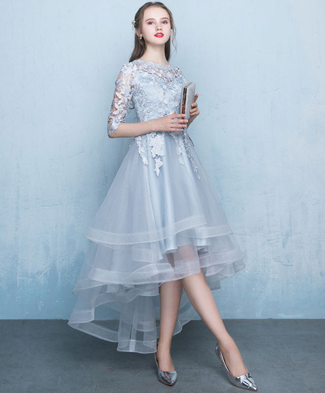 Gray tulle lace applique prom dress, gray evening dress
