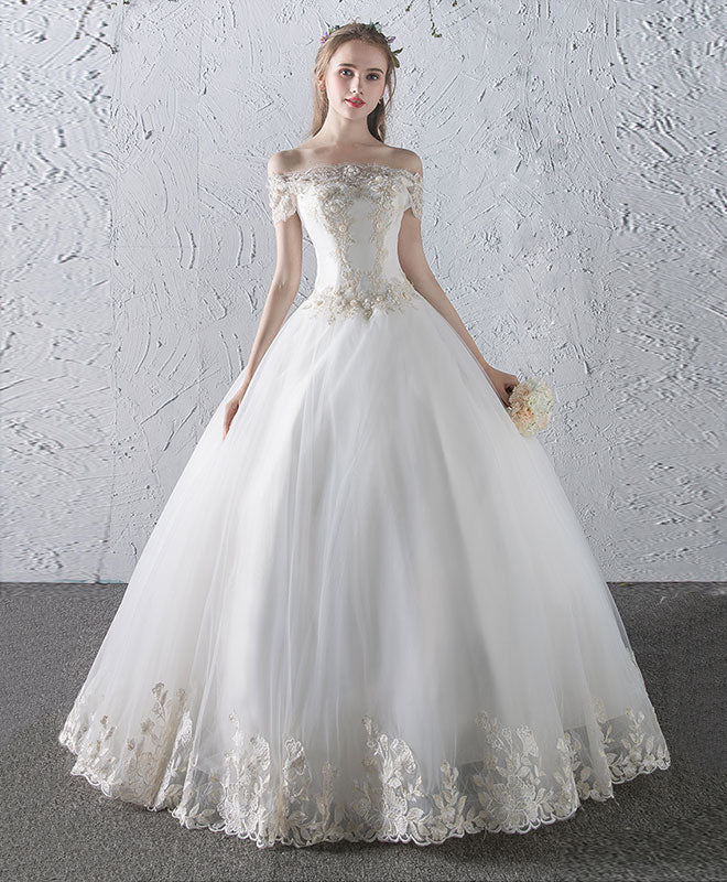 White Lace Tulle Long Wedding Dress Bridal Gown