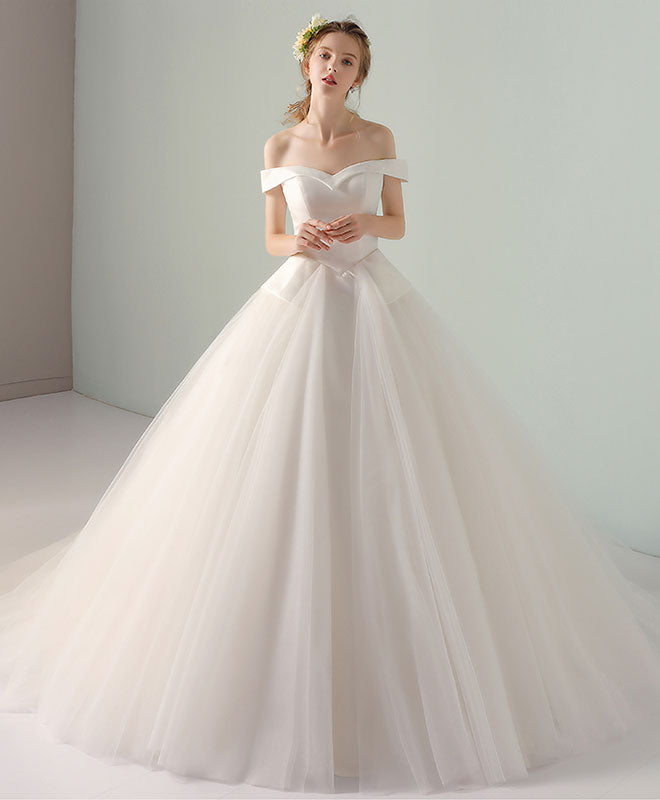 2e9b0e3a2062c Simple white tulle off shoulder long wedding dresses