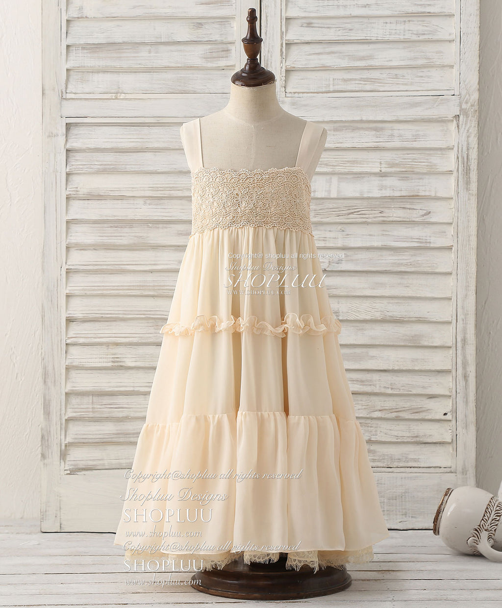 Cue champagne chiffon lace flower girl dress