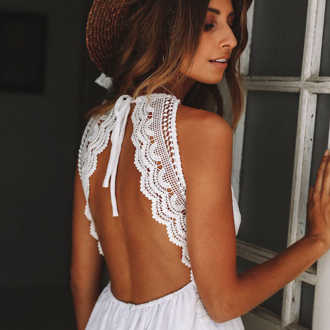White v neck short lace summer dress