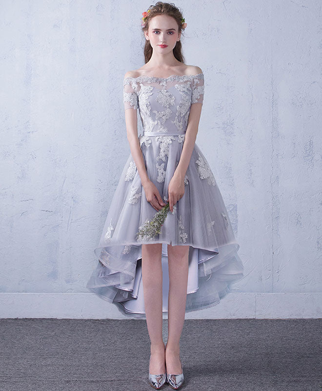 Gray tulle lace short prom dress, gray lace bridesmaid dress