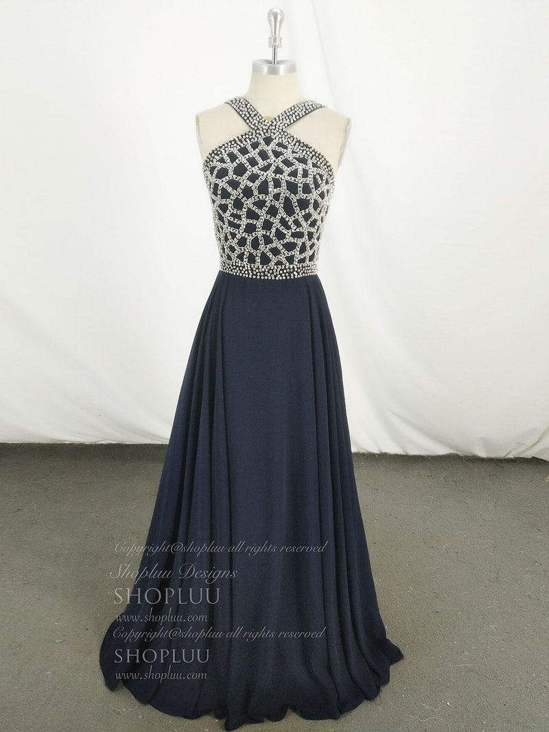 Dark blue chiffon beads long prom dress, blue evening dress