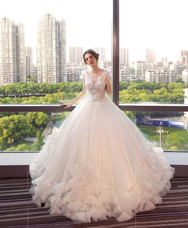 Wedding White Dresses: White Round Neck Tulle Lace Long Wedding Dress, White