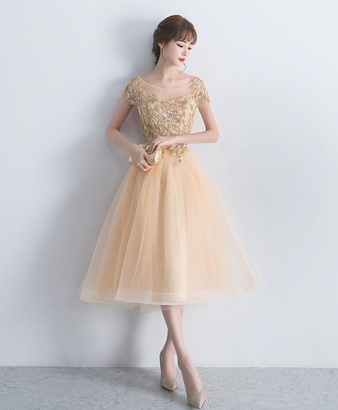 Champagne round neck tulle lace short prom dress, tulle homecoming dress