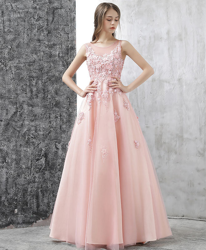 d1cf5c15773 Pink round neck tulle lace applique long prom dress