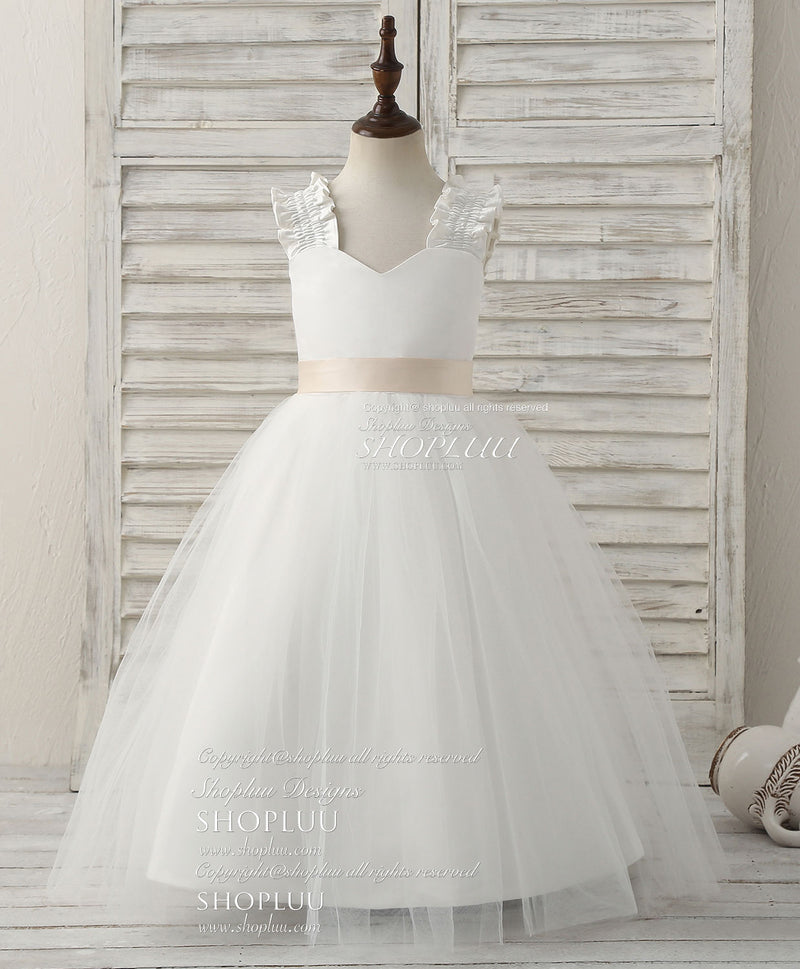 White tulle ball gown flower girl dress
