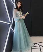 Green tulle lace applique long prom dress, green evening dress