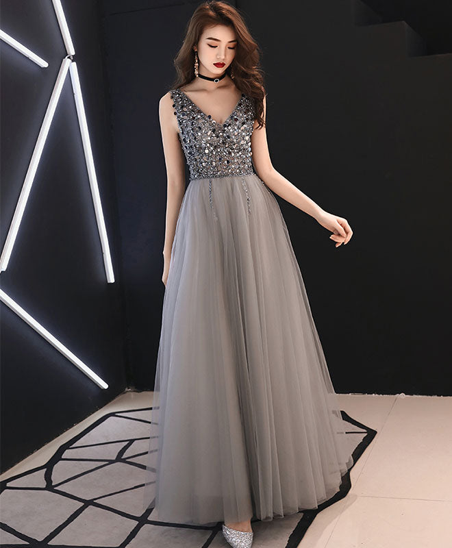 Gray v neck tulle sequin long prom dress, gray tulle evening dress