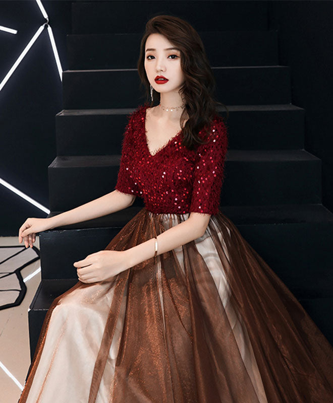 Burgundy sequin tulle long prom dress, burgundy evening dress
