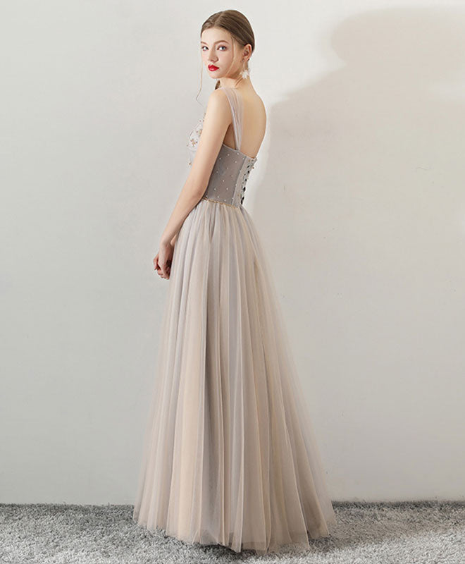 Gray sweetheart neck tulle long prom dress, gray tulle evening dress