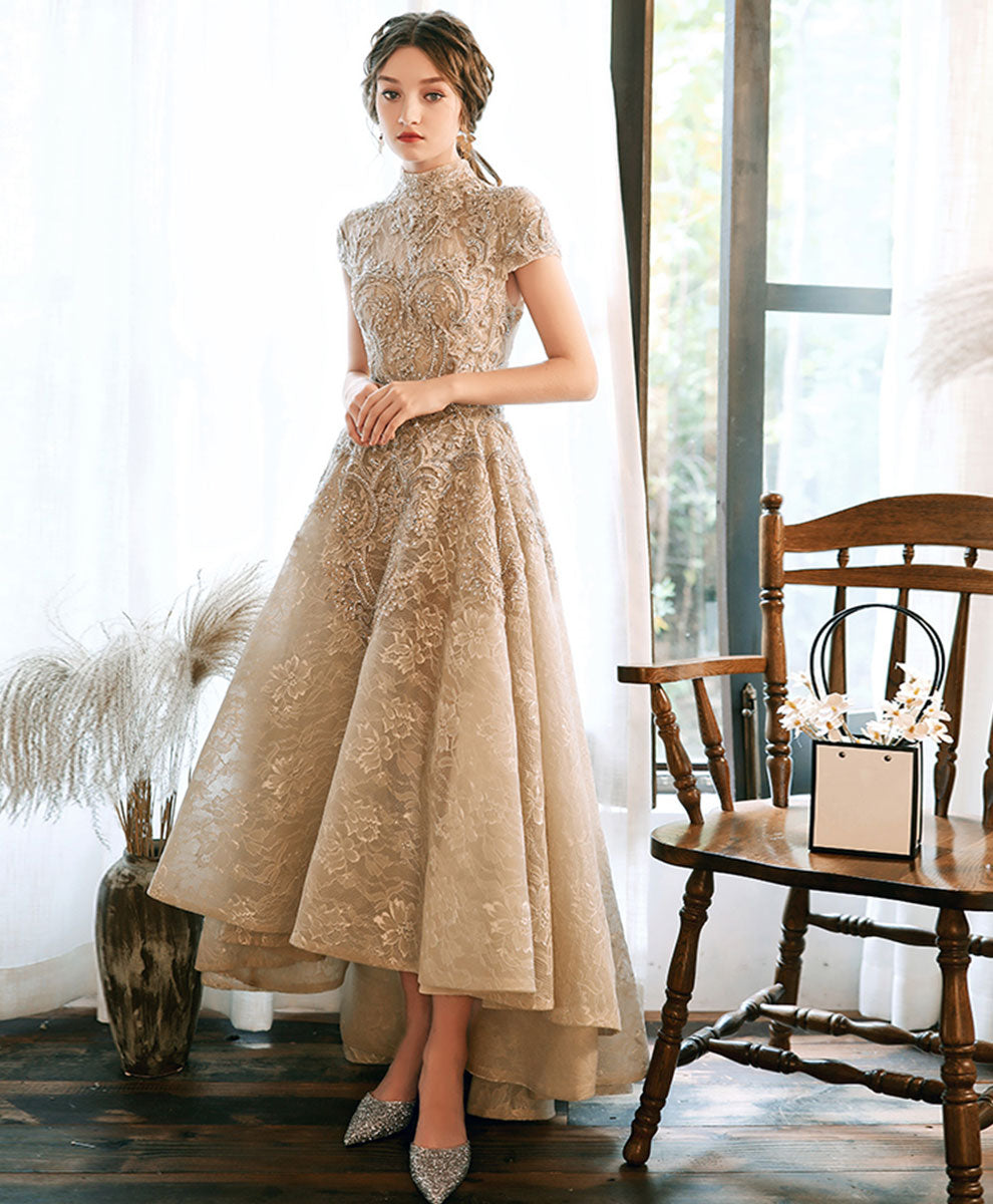 Champagne high neck lace prom dress lace evening dress