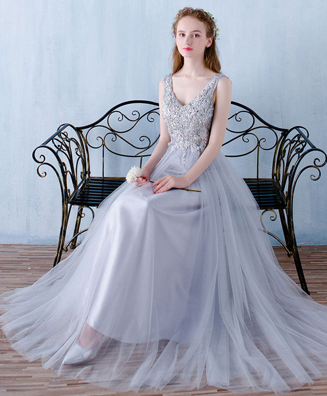 Gray v neck tulle lace long prom dress, gray bridesmaid dress
