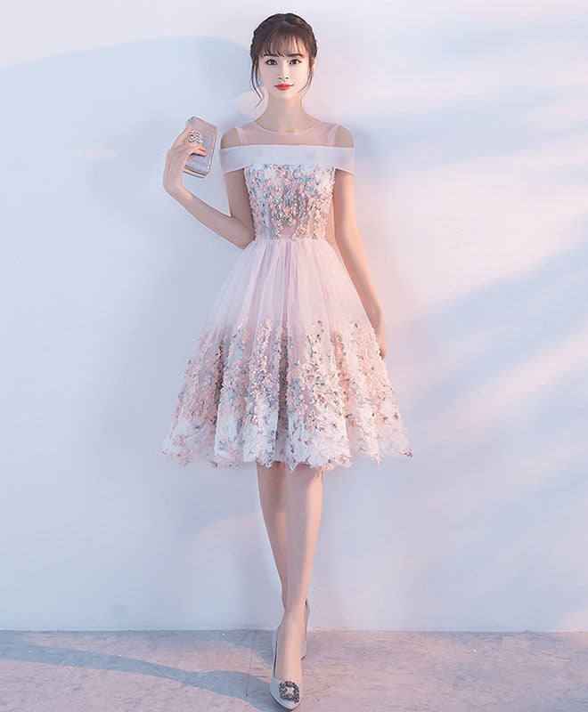 Pink lace applique short prom dress, pink homecoming dress
