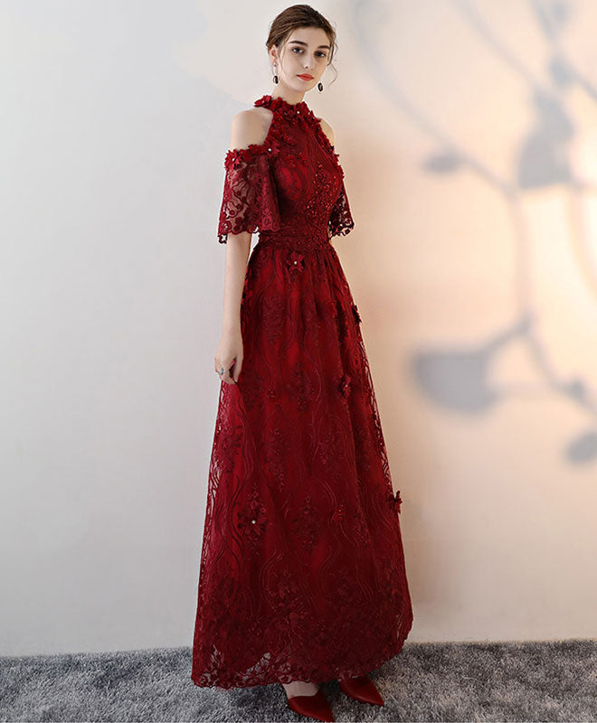 Unique lace applique burgundy long prom dress, lace evening dress
