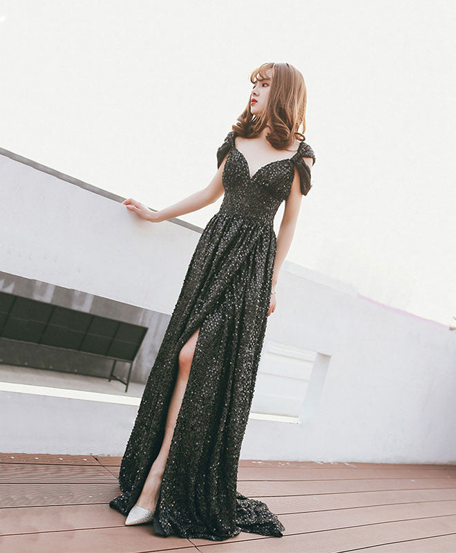 Black off shoulder sequin long prom dress, black evening dress