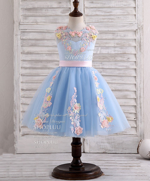 Blue round neck tulle lace applique flower girl dress