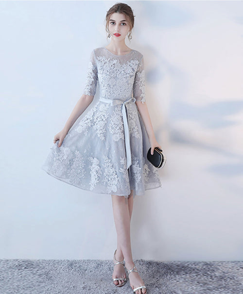 Gray round neck tulle lace short prom dress gray homecoming dress