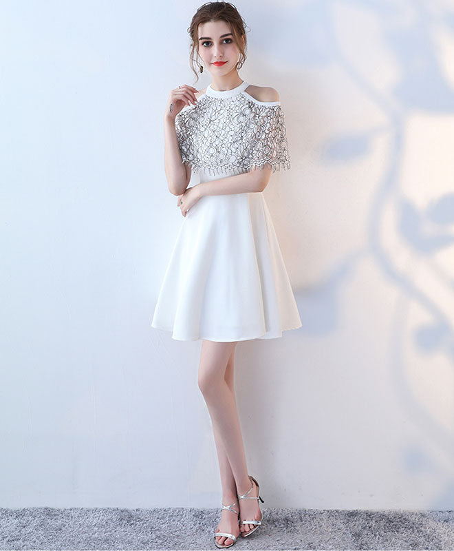 White cute lace short prom dress, white evening dress