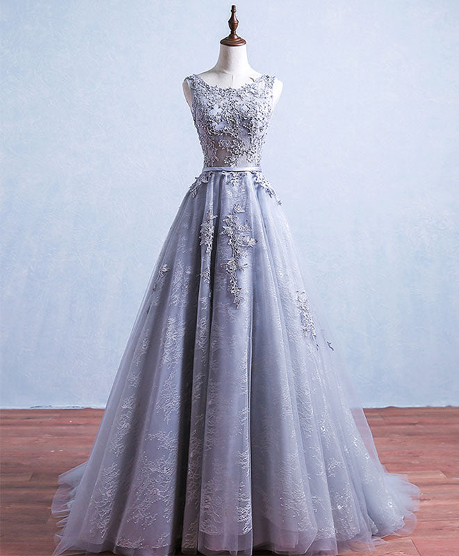 Gray round neck tulle lace long prom dress, gray bridesmaid dress