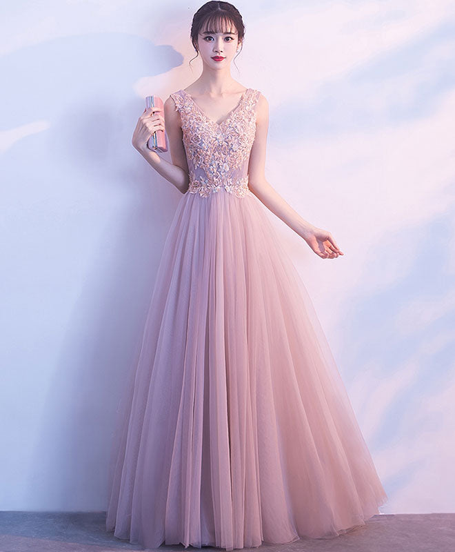 Cute V Neck Light Pink Tulle Lace Long Prom Dress Tulle Long Evening Dress