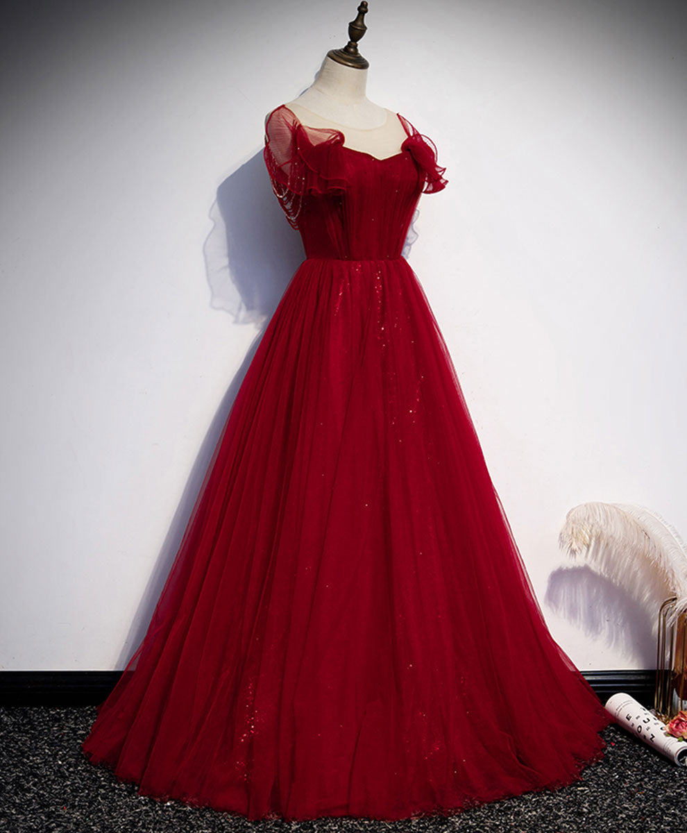 Simple round neck tulle burgundy long prom dress evening dress