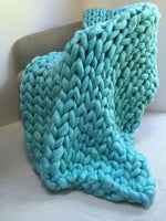 Mint green chunky knit blanket knitted blanket, chunky blanket, bulky gift