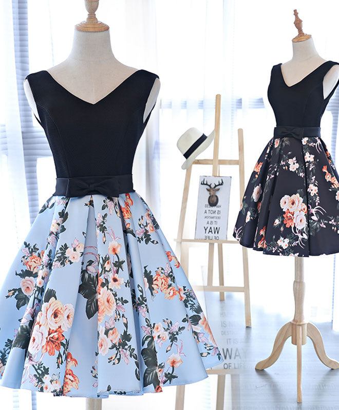 Cute v neck floral pattern short prom dress, homecoming dress – shopluu