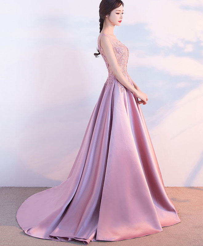 Beautiful pink lace satin long prom dress, pink evening dress