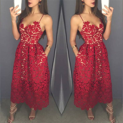 Red lace tea length prom dress, fashion girl dress