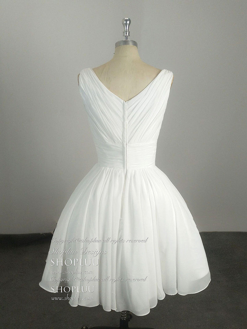 Simple v neck white chiffon short prom dress, white homecoming dress