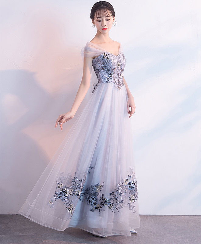Gray tulle lace applique long prom dress, gray evening dress