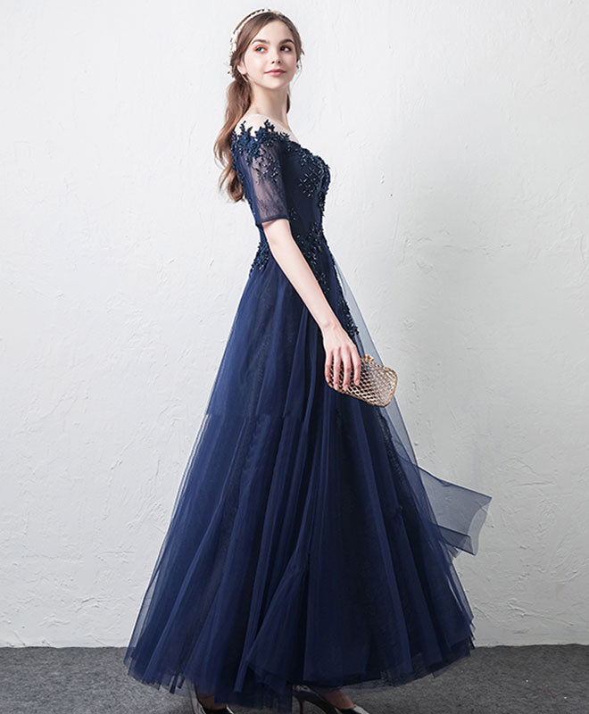 Dark blue tulle lace long prom dress, bridesmaid dress