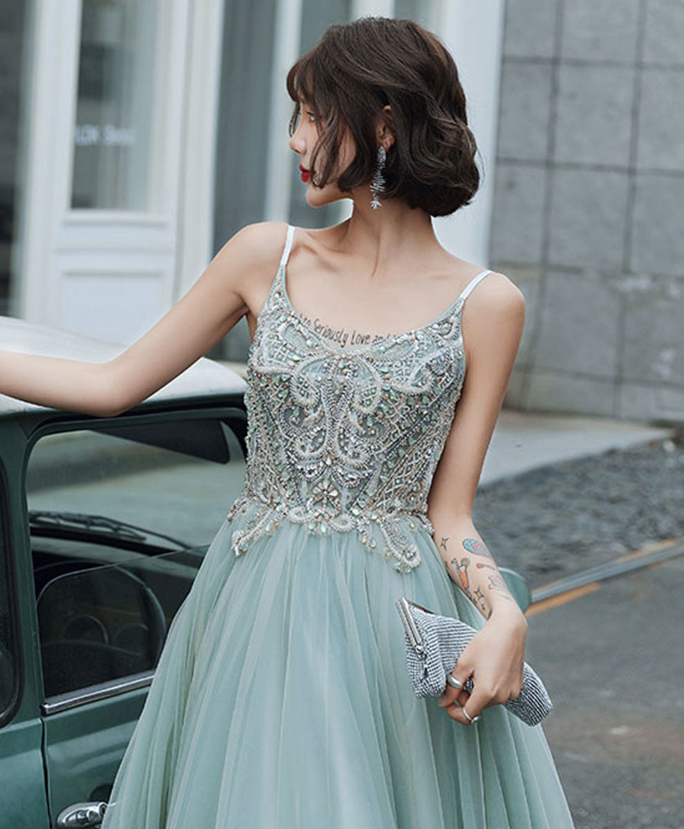 Blue tulle lace long prom dress blue tulle formal dress