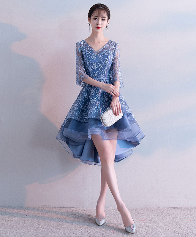 Blue v neck lace short prom dress, blue lace homecoming dress