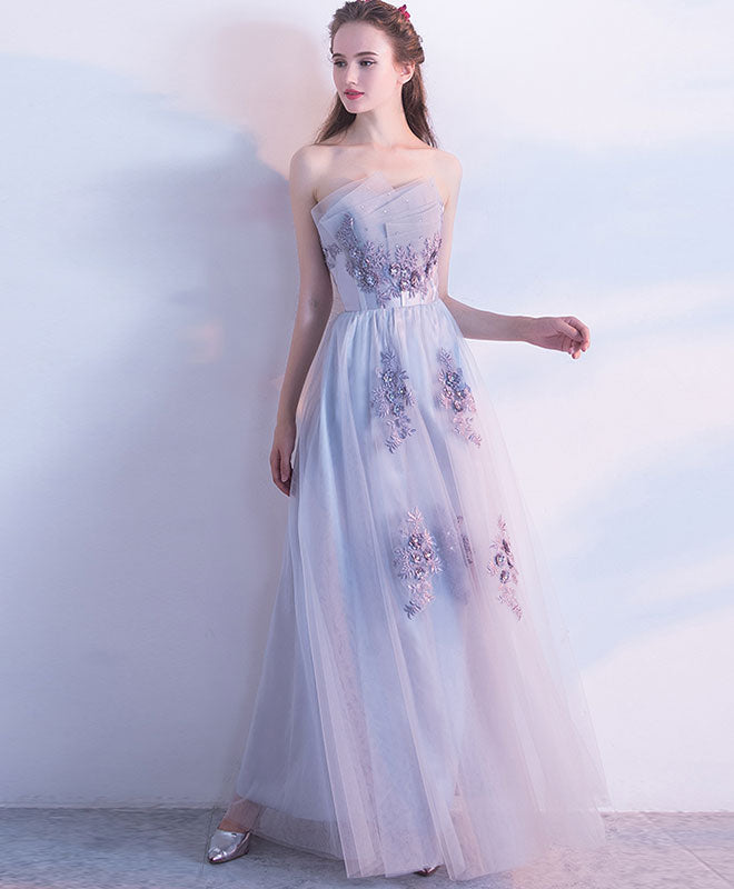 Gray tulle lace long prom dress, gray tulle evening dress
