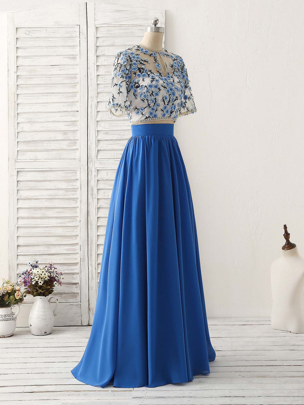 Unique blue two pieces long prom dress applique formal dress