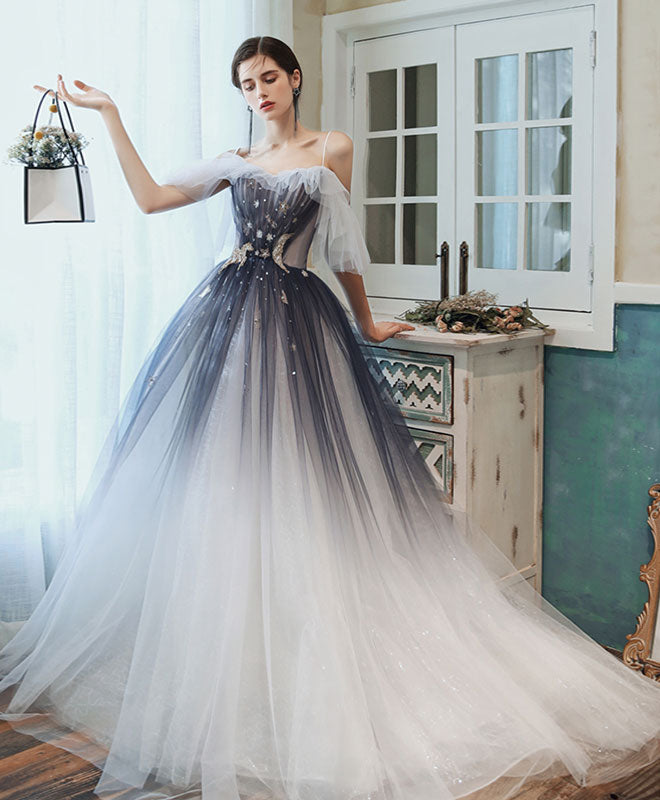 Unique sweetheart tulle blue long prom dress blue tulle evening dress