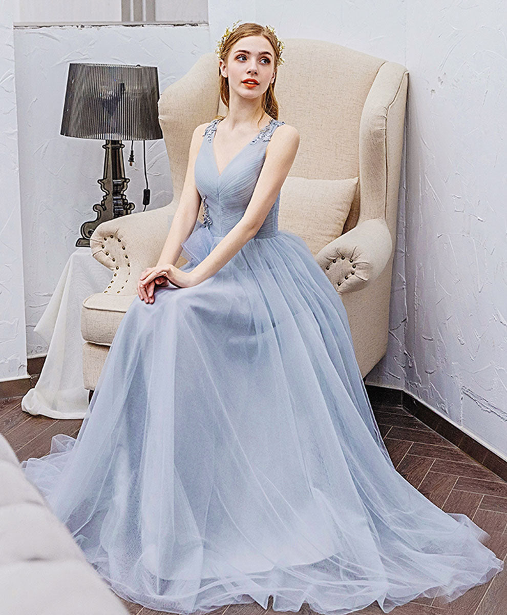 Simple v neck gray tulle long prom dress gray bridesmaid dress