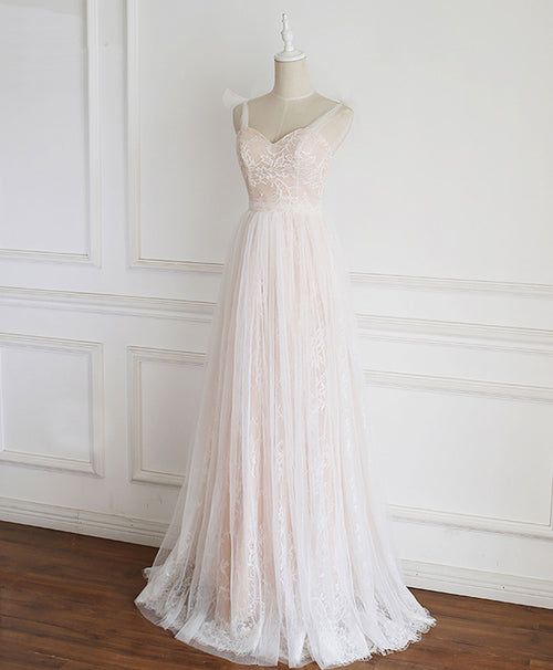 Champagne sweetheart tulle lace long prom dress lace evening dress