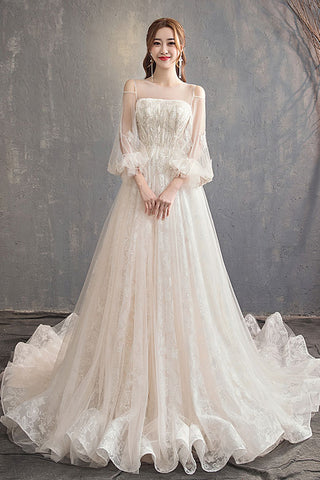 Champagne off shoulder tulle lace long wedding dress, wedding gown