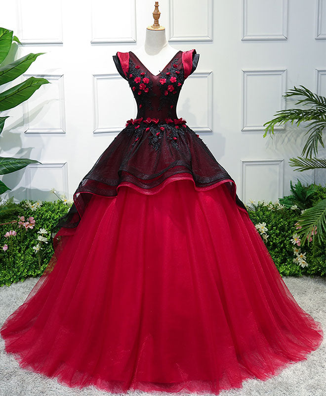 Unique burgundy v neck tulle long prom dress, burgundy evening dress