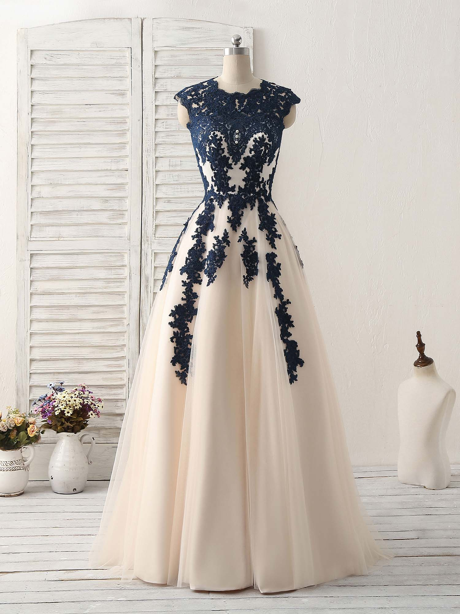 Dark blue lace applique tulle long prom dress