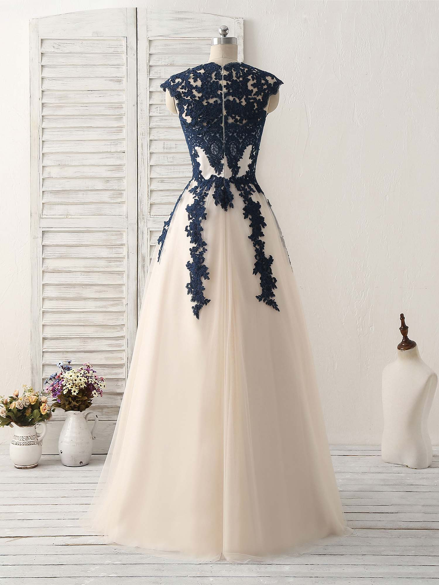 Dark blue lace applique tulle long prom dress blue bridesmaid dress