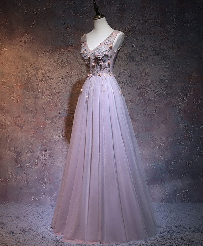 Simple v neck beads tulle long prom dress, evening dress