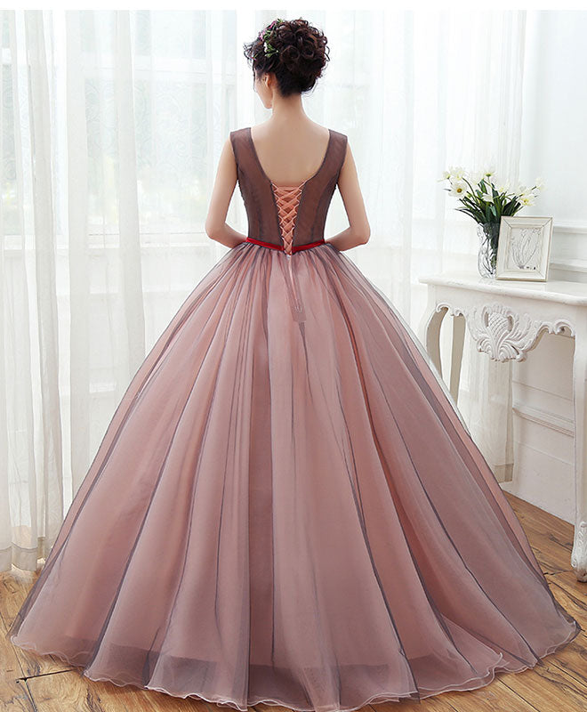 Unique v neck tulle lace long prom dress, tulle evening gown